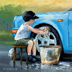 Dad's Little Helper by Keith Proctor - Original Painting on Stretched Canvas sized 24x24 inches. Available from Whitewall Galleries